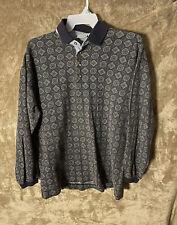 Vintage 90s Boho Paisley Long Sleeve Henley Bugle Boy Blue Size XL