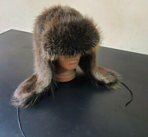 Ushanka fur hat made from beaver fur, Aviator winter hat, Beaver Fur Trapper Hat