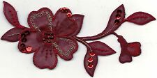 """3 1/8"""" x 6 1/8"""" Couture Burgundy Deep Red Flower Bead Sequin Embroidery Patch"""