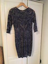 Warehouse Blue / Gold Lace Dress Size 10
