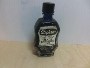 Stephens – New Quick Dry BLACK Endorsing Ink unopened bottle c1930s-1950s