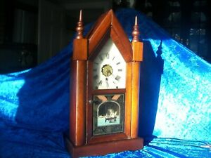 """21"""" Antique Late 1800`s Welch Steeple ALARM Clock ~Movement Overhauled & Cleaned"""
