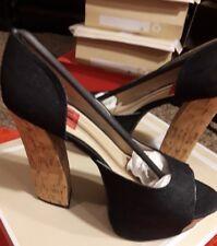 Sexy fahrenheit womens black denim open toe block wood heels sz.9