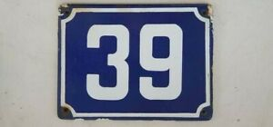 Genuine Big vintage ISRAELI enamel porcelain number 39 STREET house sign # 39