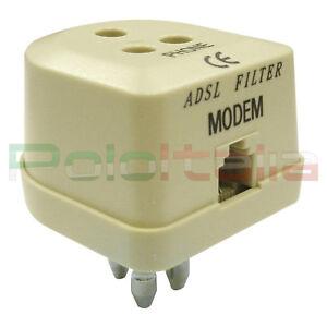 Filtro ADSL Tripolare RJ11 filter adattatore 3 poli modem internet telefono fax