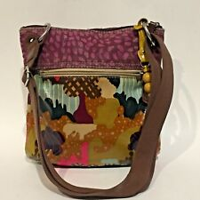 FOSSIL Key Per Crossbody Messenger Coated Canvas Abstract Design Woven Strap
