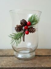 Christmas Hurricane Candle Holder with Pine Cone Decoration