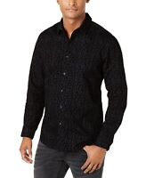 INC Mens Shirt Black Size Small S Button Down Ditsy Floral Flocked $69 209