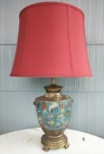 Chinese Cloisonne Enamel Brass Vase Lamp