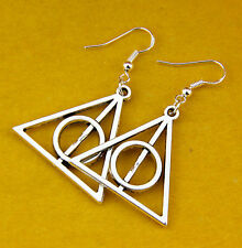 1Pair Charm Fashion Jewelry Silver Harry Potter The Deathly Hallows Earrings