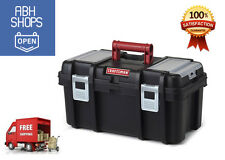 Craftsman 16 Inch Classic Tool Box Storage Removable Tray Organizer - Black/Red