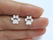 FREE GIFT BAG Silver Plated Cute Cat Dog Paw Print Stud Earrings Birthday Xmas