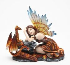 7.5 Inch Fairy with Red Dragon Statue Mythological Statue Figurine