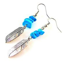 1 Pair of Turquoise Gemstone Chips Dangle Earrings with Metal Feather # 785