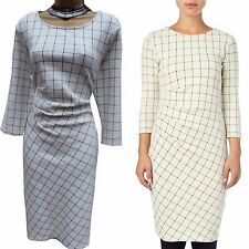 Phase Eight Cynthia Ivory Check Stretch Office Work Cocktail Wiggle Dress 18 UK