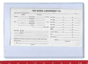 Vintage Idora Park Daily receipt of ticket sales Youngstown Ohio