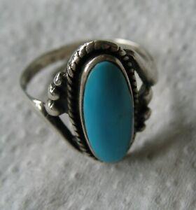 Indianerschmuck Ring mit Türkis Sterling Silber Innendurchmesser 19 mm
