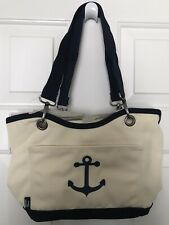 New Thirty One Natural & Navy w/ Anchor Canvas Crew Mini Thermal