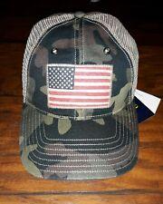 New Polo Ralph Lauren Men's Camouflage USA Flag Trucker Hat NWT OSFA Green/Beige