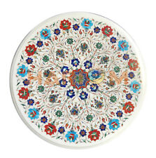 "20"" Marble Coffee Table Top Precious Multi Floral Inlay Garden Decors Gift W563"