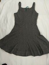 BORDEAUX Anthropologie Tanith dress, black and white with green zipper, Size M