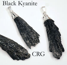 Silver Plated Black Kyanite Crystal Fan Pendant (FN11BT)