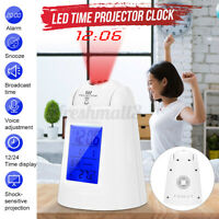 Electronic LED Projection Alarm Clock Thermometer Snooze  Nightlight Bedroom