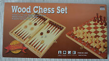 Buy 2 Save 24cm SQ Wooden Chess Backgammon & Checkers Draughts Set Folding