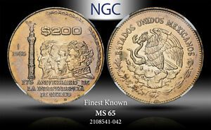 1985-Mo MEXICO 200 PESOS INDEPENDENCE 175TH ANNIV. NGC MS65 FINEST KNOWN