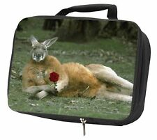More details for kangaroo with red rose black insulated school lunch box bag, ak-1rlbb