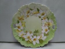 Vintage PT Germany Dual Handle Hand Painted Scalloped Edge Plate White Flowers