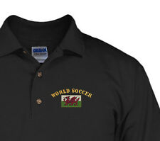 World Soccer Wales Flag Embroidery Embroidered Golf Polo Shirt