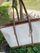 Michael Kors Jet Set Carryall Signature Vanilla XL Travel Weekender Tote Bag