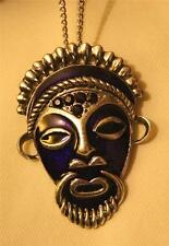Striking Purple Violet Enamel Rope Detail Native Mask Aborigine Pendant Necklace