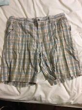 St. Johns Bay Mens Flat Front Plaid Shorts 38