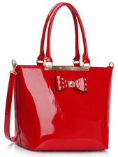 New Patent Bow With Diamante Handbags Large Tote Bags Women's Shoulder Bag 485