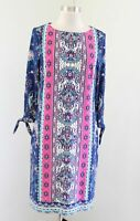 Chico's Blue Pink Medallion Paisley Print Tie Sleeve Shift Dress Chicos Size 0