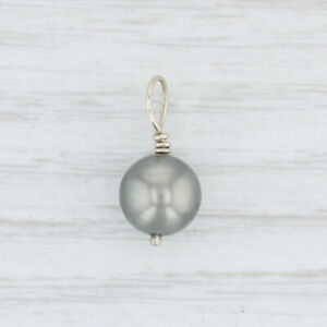 Cultured Gray Pearl Pendant 14k White Gold Drop Bead Solitaire