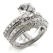 Cubic Zirconia Wedding 2 Rings Set Luxury 2.74ct Round Cut Rhodium Plated Womens