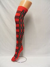 RED NEW TARTAN + STRIPE OVER THE KNEE HIGH SOCKS COTTON FUNKY DESIGN