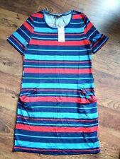 BNWT Matalan Papaya Weekend Striped Summer Dress Front Pockets Stretchy 8 10