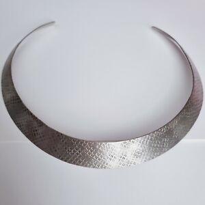 Vintage Hammered White Metal Torque Necklace Collar Collarette Grecian Eqyptian