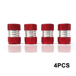 4X Red Anodized Aluminum Tire/Wheel Air Pressure Valve Stem Caps Car Accessory G