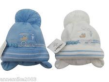 de niño invierno cálido Choo tren gorro con pompón en azul/blanco 0-3 3-6 6-12m