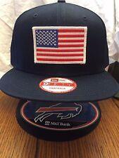 New Era NE400 Navy Blue Flat Brim Snapback Hat/Cap W/ American Flag White Border