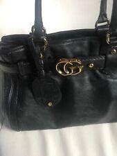 Gucci Authentic Black Leather Satchel Tote Handbag GG Logo Accent