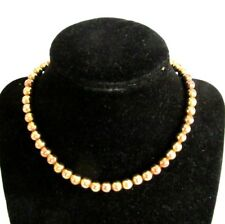 "7mm 14K Gold Rondelle Beads Chain Strung Hidden Clasp 14"" Necklace 19g Not Scrap"