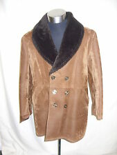 "Mens Coat brown faux suede & faux fur lining/collar, chest 42"", NOT PERFECT 2219"