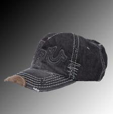 ae7dca35 True Religion Raised Logo Denim Baseball Cap Hat   TR1995 Black (One Size)
