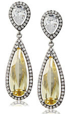 NWT CZ by Kenneth Jay Lane Yellow CZ Double Pear DAZZLING Red Carpet Earrings